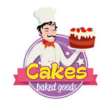 Vintage logo. Smiling italian man in a cook cap with cake. Vintage cartoon logo. Smiling italian man dressed in a cook cap and with a strawberry cake with Royalty Free Stock Photo