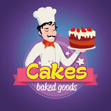 Vintage logo. Smiling man in a cook cap with cake. Vintage cartoon logo. Smiling man dressed in a cook cap and with a strawberry cake with frosting Stock Photo