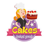 Vintage logo. Smiling woman in a cook cap with cake on white background Royalty Free Stock Photography