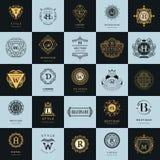 Vintage Logos Design Templates Set. Logotypes elements collection Royalty Free Stock Image