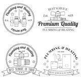 Vintage logos, labels and badges Plumbing & Heating Services.  V Royalty Free Stock Photo