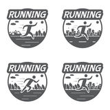 Vintage logos running, nature and the city. Retro vector illustration
