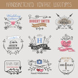 Vintage logotype set.Doodle hand sketch Stock Photo