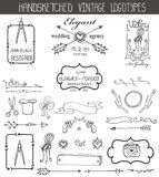 Vintage logotypes elements set.Doodle hand sketchy Royalty Free Stock Images