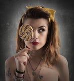 Vintage lollipop girl Stock Images