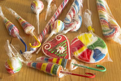 Vintage lollipops on the plank table Royalty Free Stock Photos