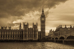 Vintage London with Big Ben and the Houses of Parliament Royalty Free Stock Photos
