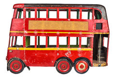 Vintage London bus toy isolated on white Stock Photos
