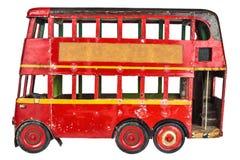 Vintage London bus toy isolated on white stock photos
