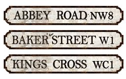 Vintage London Street Signs. Vintage London England Street Signs Abbey Road Baker Street Kings Cross metal rustic embossed antique British underground beetles stock photos