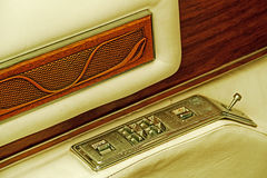 Vintage look with detail of a car door inside opener Royalty Free Stock Photo