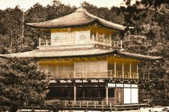 Vintage look of the famous Golden Pavilion in Kyoto stock photos