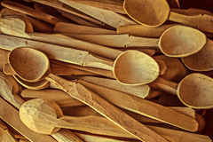 Vintage look at handmade wooden spoons Stock Images