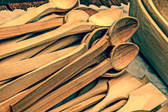 Vintage look at handmade wooden spoons Royalty Free Stock Images