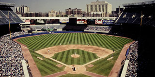 Vintage look at Old Yankee Stadium, Bronx, NY. Retro look at Old Yankee Stadium, Bronx, NY. (Image taken from color slide royalty free stock images
