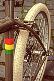 Vintage look at one bicycle detail 7 Stock Photography