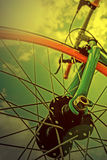 Vintage look at one bicycle detail in the morning light 1 Stock Photo