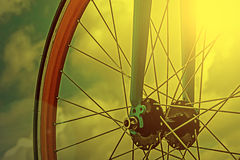 Vintage look at one bicycle detail in the morning light Royalty Free Stock Photography