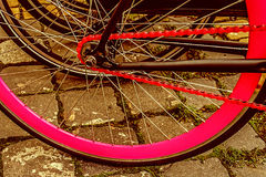 Vintage look at one bicycle detail Stock Photo