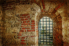 Vintage look at one brick wall tunnel passage Royalty Free Stock Photos