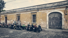Vintage look of a side street in Antigua stock photo