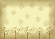 Vintage look with trees. Vintage look background. Sepia toned with darkened edge. Muted all over print resembling vintage wallpaper pattern. The bottom edge is Stock Illustration
