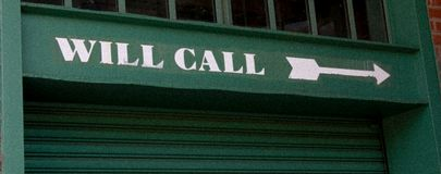 Vintage look of Will Call Window marker at Fenway Park. Arrow pointing to the Will Call Window at Fenway Park, Boston, MA stock photos