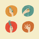 Vintage looking  female hands with accessories icons set 0 Stock Photo