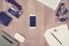 Vintage looking office desk hero image Royalty Free Stock Photography