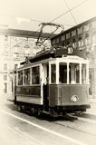 Historical tramway in turin italy. Vintage looking photo of the historical tramway line number ten from Crocetta to Regio Parco street stops in Piazza Castello Stock Photo