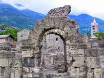 Vintage looking Ruins of the Roman Theatre in Aoste Italy Royalty Free Stock Photography