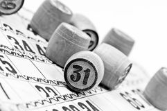 Vintage lotto. Kegs and cards Royalty Free Stock Photos