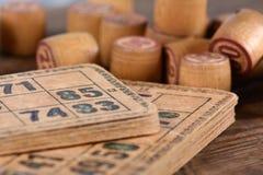 Vintage lotto. Old vintage bingo game kegs Stock Images