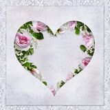 Vintage love background with frame in the form of heart, beautiful roses and place for text Stock Photo