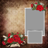 Vintage love background with frames and roses Stock Photo