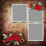 Vintage love background with frames and roses Stock Images