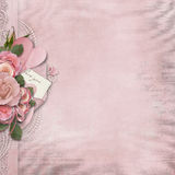 Vintage love background with pink roses and heart. Elegance Vintage background roses, lace and with perl Stock Photography