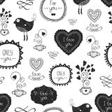 Vintage love background. With valentine labels, birds, mug of tea, hearts and other decorative elements, vector seamless pattern Stock Photo