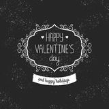 Vintage love card Happy valentines day. Vector retro greeting card Royalty Free Stock Image