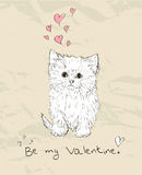 Vintage love card with kitten. Vector illustratin EPS8 Royalty Free Stock Photo