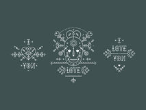 Vintage love elements. With line romantic and abstract shapes. Vector lines, heart, skull,  typography on gray background. Hipster style Stock Photography