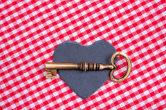 Vintage love key. Old key with text banner Stock Photography