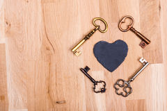 Vintage love key. Old key with text banner Royalty Free Stock Photo
