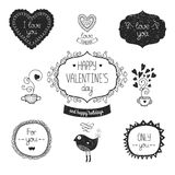 Vintage love labels. Frame and decorative elements  with birds, mug of tea, hearts. Vector valentine collection for design isolated on white background Royalty Free Stock Image