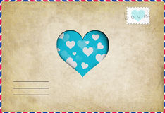 Vintage love letter with heart Royalty Free Stock Photos
