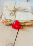 Vintage love letters. And hand made heard on old board Royalty Free Stock Photos