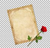 Vintage love mail. old blank paper script and red rose stock illustration