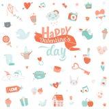 Vintage love set of Valentines day design elements Stock Image