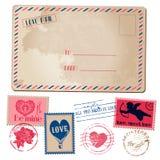 Vintage Love Valentine Postcard stock illustration