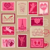 Vintage Love Valentine Stamps. For design, invitation, scrapbook - in Royalty Free Stock Photo